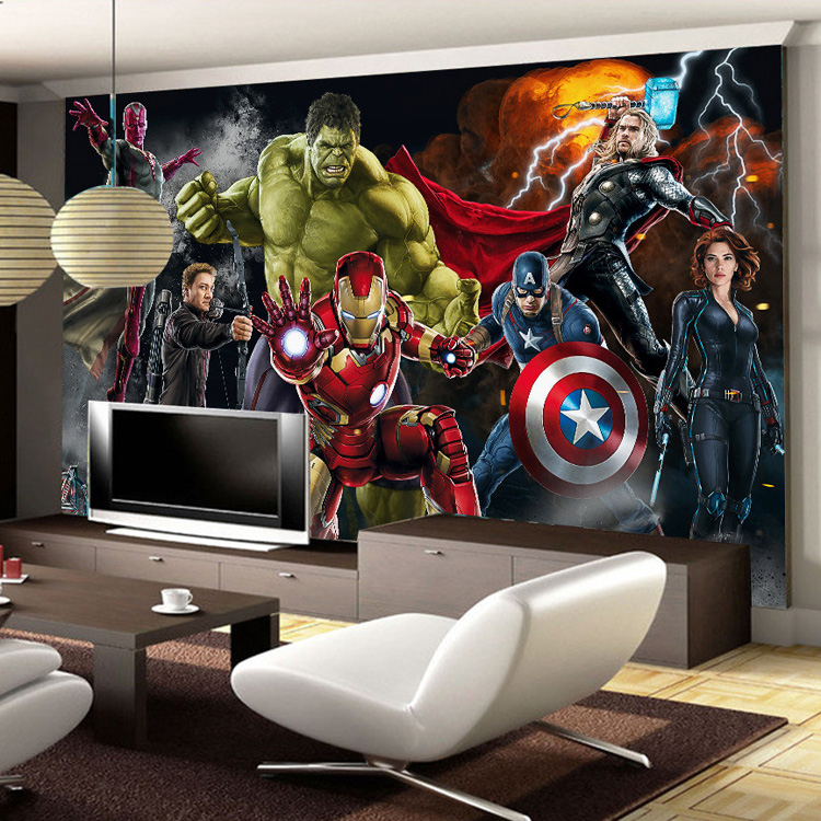 Avengers Photo Wallpaper Custom 3D Wallpaper For Walls Hulk Iron Man Captain America Wall Mural Boy Bedroom Living Room Designer