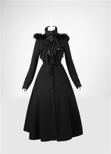 Gothic Punk Lolita Black Wool Coat Women Winter Warm Jacket Long Dress Overcoat Party Fashion Cosplay Anime Clothing Costume NEW