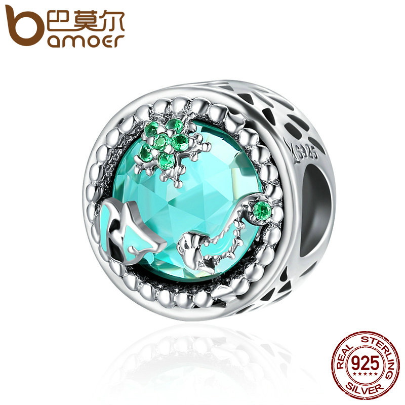 BAMOER Fashion New Genuine 925 Sterling Silver Mystery Ocean Charms Beads fit Women Charm Bracelets DIY Stone Jewelry SCC246 2018 summer new moments black leather hand chain bracelets fit 925 sterling silver jewelry charms beads diy for women br066