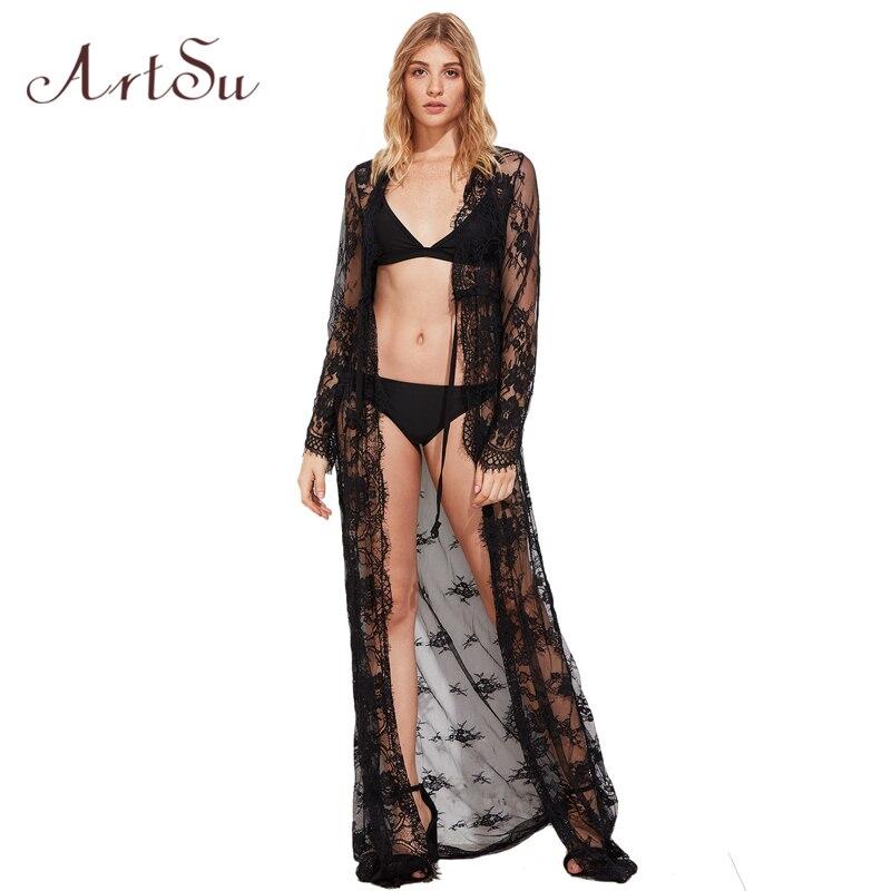 ArtSu Women 2017 Sexy Elegant Lace Long Dress V-Neck Long Sleeve Bodycon Summer Party Maxi Dresses Clothing Vestidos ASDR20078