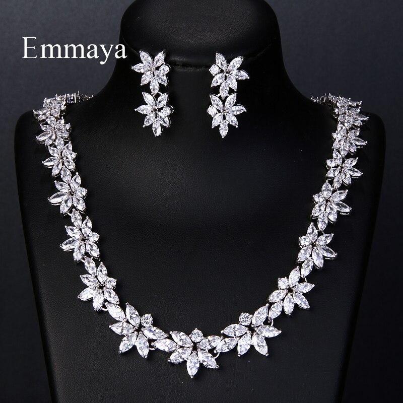 Colar de Casamento Conjunto para o Jantar Conjunto de Jóias Emmaya Elegante Luxo Branco Zircon Cristal Flores Bonito Brincos Feminino Vestido Aaa
