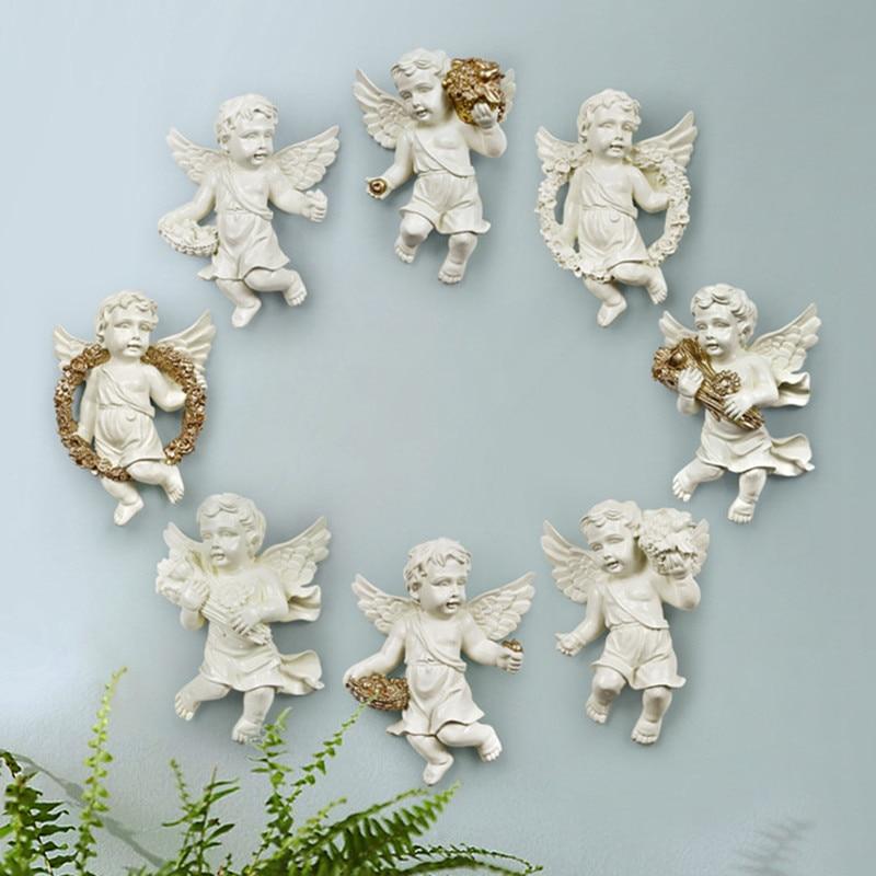Bonita estatua de Ángel Cupid fondo de pared 3D escultura Mural decoración de pared para sala de estar decoración colgante 4 unids/set R144 - 2