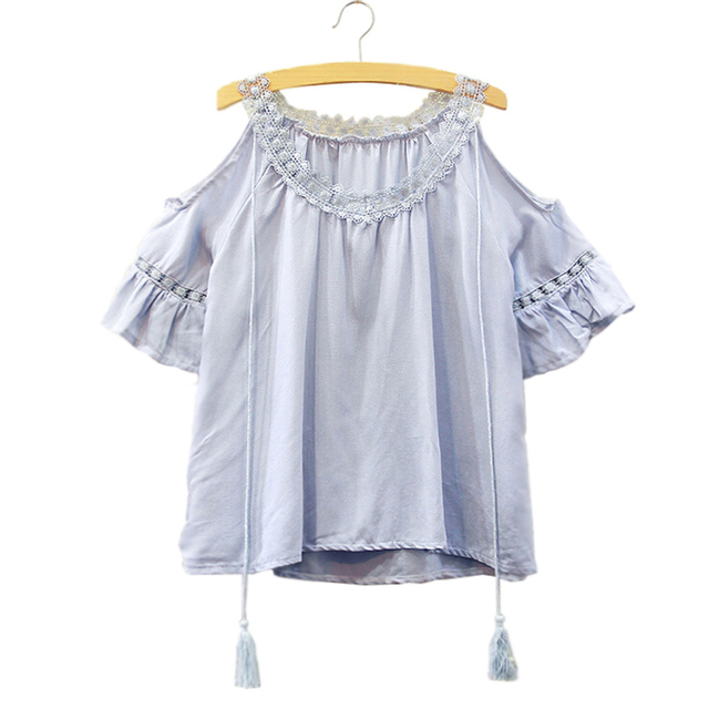 Women Sexy Shirts Lace O Neck Ruffles Sleeve Tops Tees Summer Ladies Cold Shoulder Blouses Shirt Top Vetement Femme Plus Size