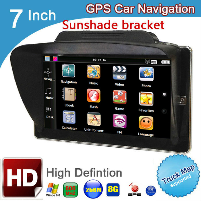 7 inch hd car gps navigation fm 8gb 256m ddr 800mhz map free upgrade