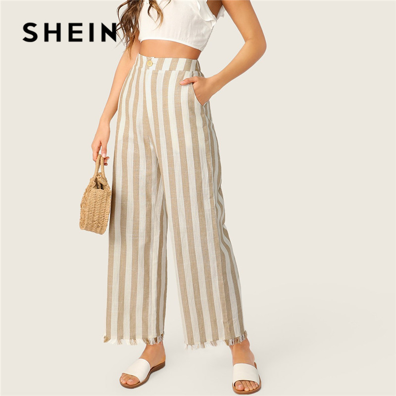 SHEIN Khaki Casual Buttoned Front Raw Hem Striped Wide Leg Pants Women Clothes 2019 Spring Button Fly Pocket Zipper Long Trouser