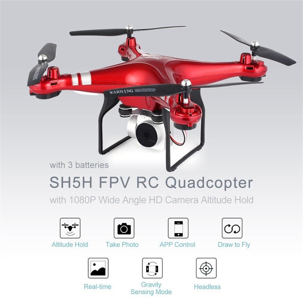 SH5H 2.4G drone fpv quadcopter rc avec 3 Batteries 1080 P Grand Angle Wifi HD Caméra Vidéo En Direct le Maintien D'altitude Sans Tête mode