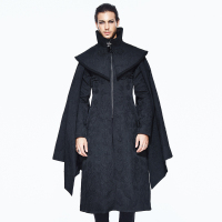 Steampunk Men Coat Black Vintage Sleeves Detachable Long Coats Court Palace Cosplay Coats