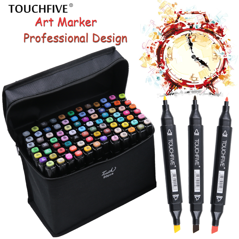 TouchFIVE 80 Colors Art Marker Set Alcohol Based brush pen liner Sketch  Markers touch twin Drawing manga art supplies genuine 20colors stabilo point 88 03 micron liner pen sketch marker set 0 4mm ultra fine micron pen draw liners art supplies
