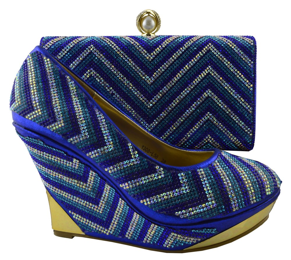 ФОТО Royal Blue Elegant High Heels Party Pumps Shoes For Women African Wedding Shoe and Bag Sets Italian Matching Shoe 1308-L58