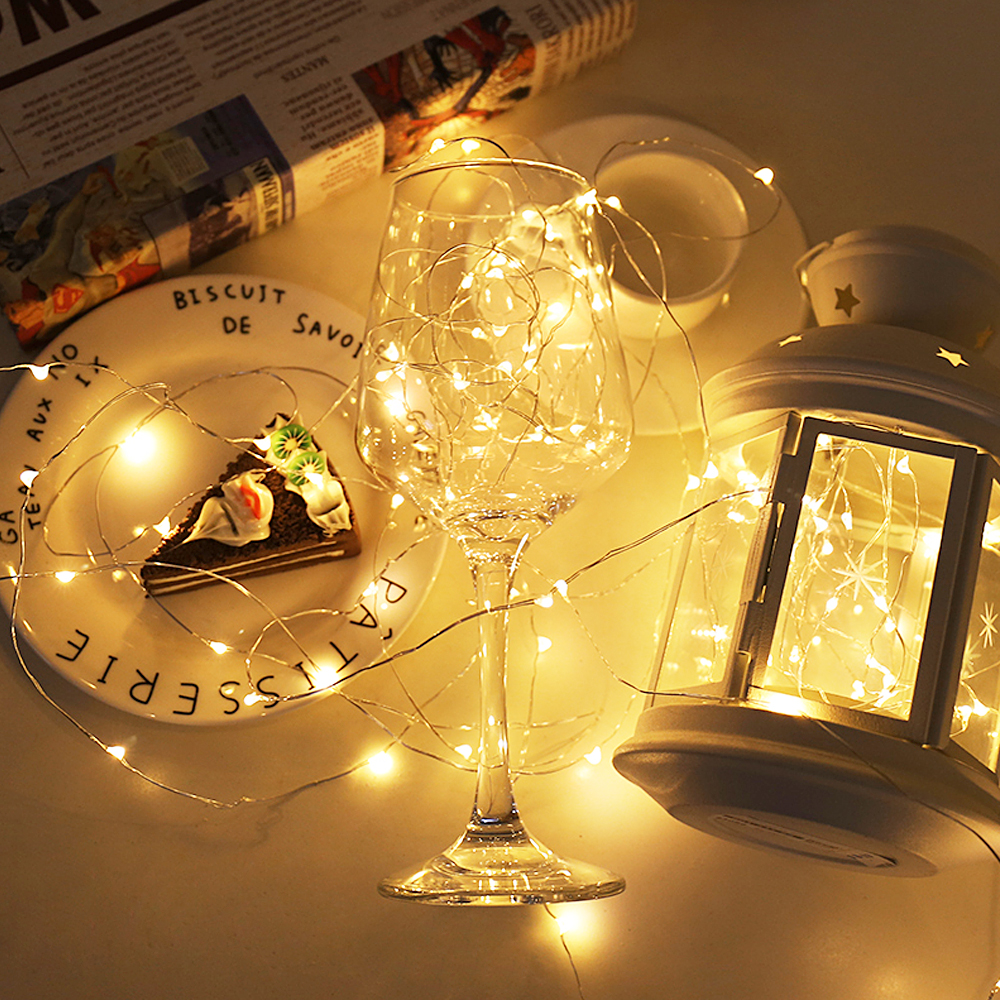 LIGINWAAT 2M Or 5M Waterproof Multi Color LED Copper Wire Strip Novelty Light Dry Battery Powered String Lamp