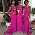 2016 Fuchsia Bridesmaid Dresses Honor Of Maid Formal Gown With Mermaid Cap Sleeve Sheer Neck Sweep Train Zipper Back Cheap