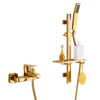 Bath Shower Faucet Set Total Brass Bathtub Shower Faucet Hot & Cold Mixer Tap Wall Mounted Shower Faucet Set Gold Finished