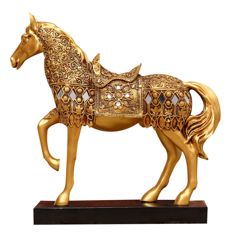 Resin Animal Statues Figurine Crafts European-made Old Manual Gold Horses Home Decoration Ornaments Creative Business Gifts figurine