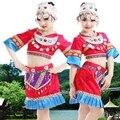 Мяо одежды хмонг одежда Китайский народный танец костюм для ребенка традиционный китайский костюм с головной убор С Hat