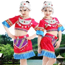 Ropa de Miao hmong ropa de danza folclórica china traje de niño traje tradicional chino con tocado Con Sombrero