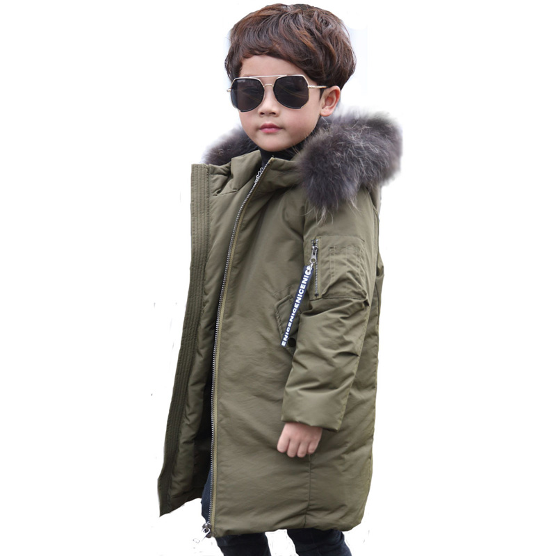 Winter Boys Coats 2017 New Fashion Boys White Duck Down Coat with Fur Hood Thick Warm Big Boys Parka Coat 5-13Y DQ599 2017 winter new clothes to overcome the coat of women in the long reed rabbit hair fur fur coat fox raccoon fur collar