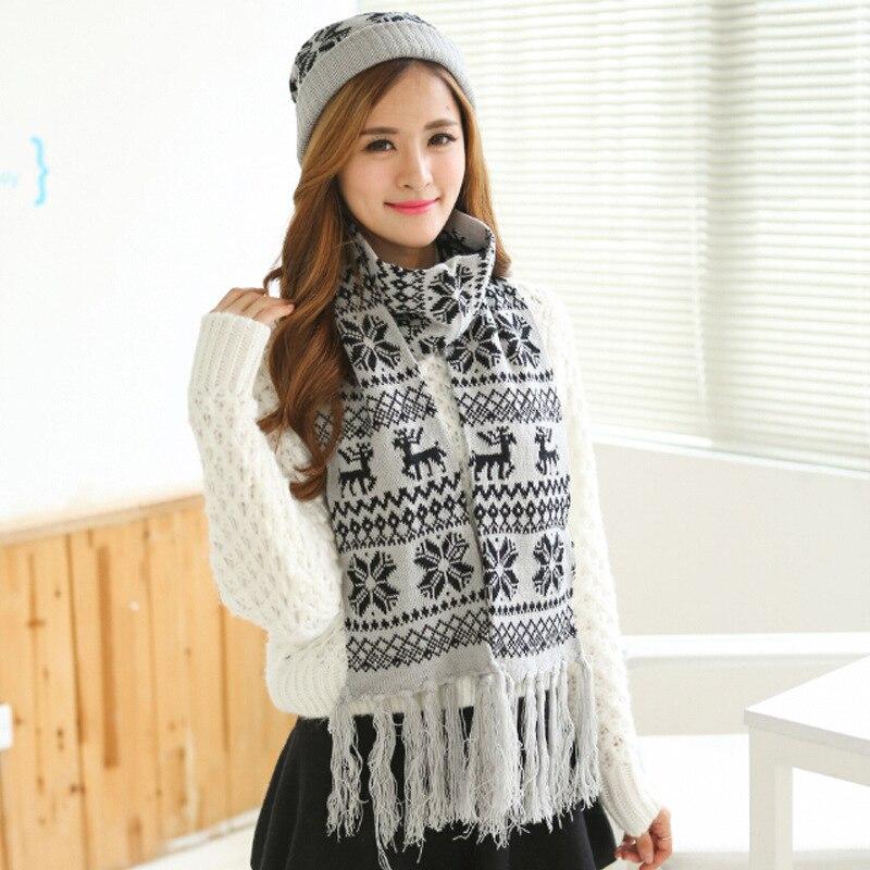 Civichic invierno Navidad jacquard regalo sombrero de punto bufanda ...