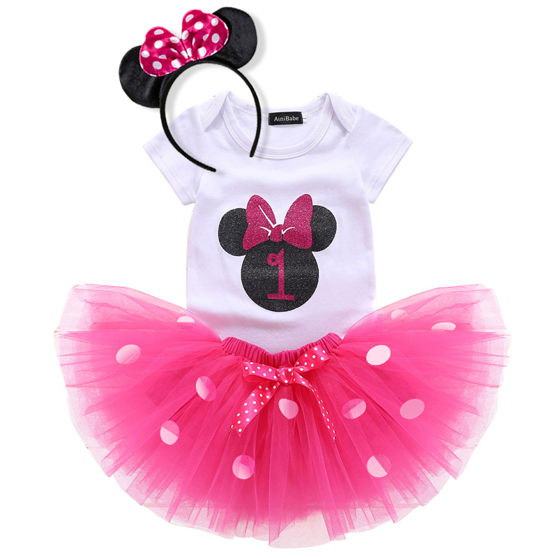 Infant Baby Girls Birthday Dress Outfit Romper Skirt Headband Set Party Costumes