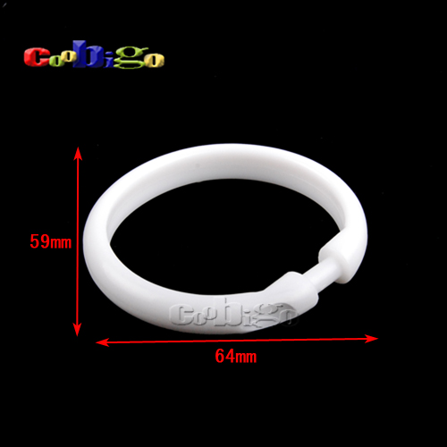 Wonderful 100pcs Pack 64*59mm Practical White Plastic Shower Curtain Ring Snap On  Button Clip #