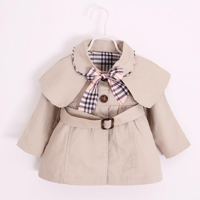 2016 del otoño del resorte 1-4Y ropa los niños de la princesa del bebé cinturón Trench Coat de los niños chaquetas visten capa de moda cuadros arco Outwear
