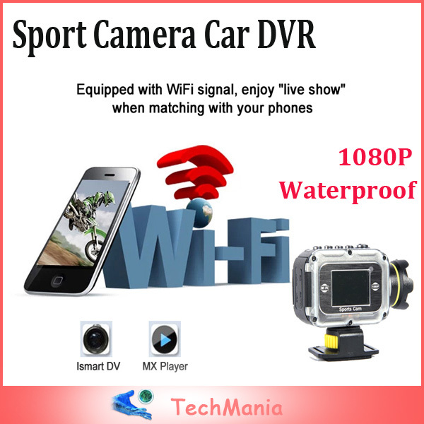 High Resolution 1080P Waterproof Action Camera Video Recorder Outdoor WiFi Support Controlled by Phone/Tablet Car DVR Black