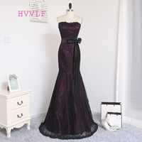 HVVLF סגולות שחורות ערב שמלות 2018 בת ים מתוק סאטן תחרה ללא משענת ארוכה ערב נשף שמלת נשף שמלת שמלת