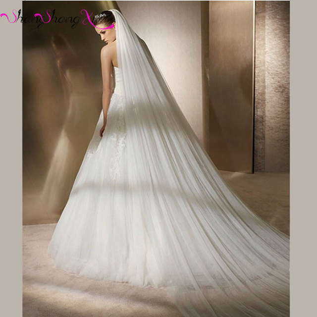 Elegant White Cathedral Wedding Veil 2017 Free Shipping Ivory Simple Bridal Veil With Comb Hot sale Wedding Accessories ZX079