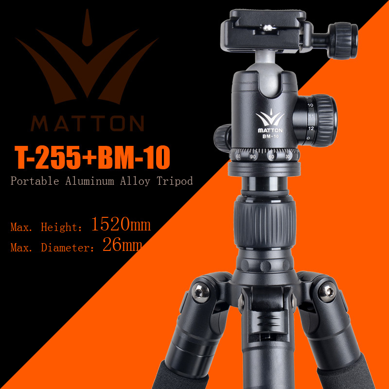 Matton T-255+BM-10 Pro Portable CNC Aluminum Tripod&Ball Head and QR Plate ARCA Standard For Canon Nikon Sony Olympus