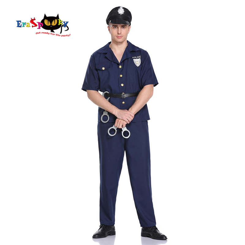Eraspooky 2019 Men's Police Officer Uniform Halloween Costume For Adult Cops Cosplay Short Sleeve Carnival Party Outfits Cap