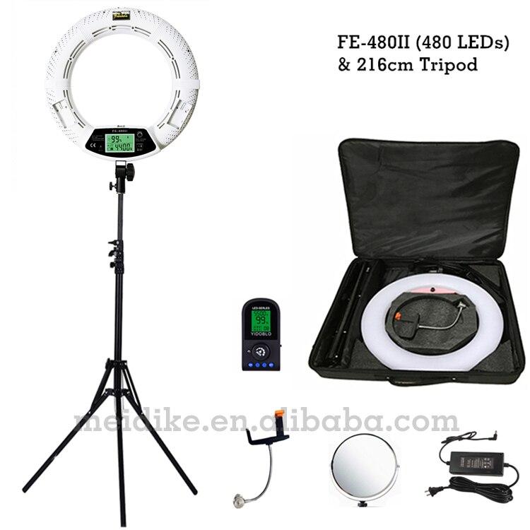 Yidoblo blanc FE 480II Dimmable bi couleur anneau lumière 480 LED vidéo Continue lampe LCD RC éclairage photographique + 2 M support + coque souple-in Éclairage photographique from Electronique    1