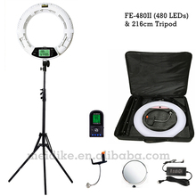 Yidoblo FE-480II blanco bicolor Regulable Lámpara de Anillo de Luz 480 LED de Vídeo Continuar LCD RC Fotográfico Iluminación + 2 M soporte + estuche Blando