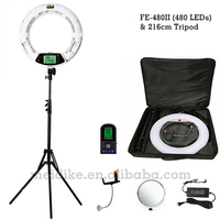 Yidoblo white FE 480II Dimmable Bi color Ring Light 480 LED Video Continue Lamp LCD RC Photographic Lighting +2M stand+Soft case