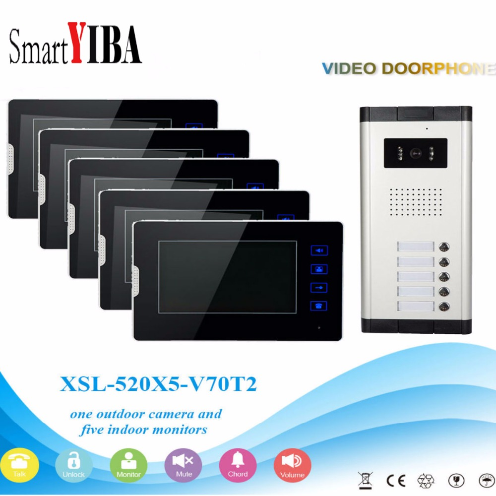 SmartYIBA 5 Units Apartment Intercom System Video Door Phone Door Intercom Aluminum Alloy Camera 7Inch Monitor Video DoorbellSmartYIBA 5 Units Apartment Intercom System Video Door Phone Door Intercom Aluminum Alloy Camera 7Inch Monitor Video Doorbell