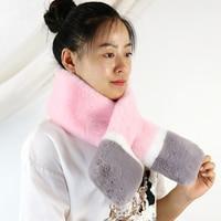 100*13CM Faux Fur Collar Winter Scarf Women Faux Rabbit Fur Scarves Fur Solid Fashion Female Neckerchief Winter Long Wraps
