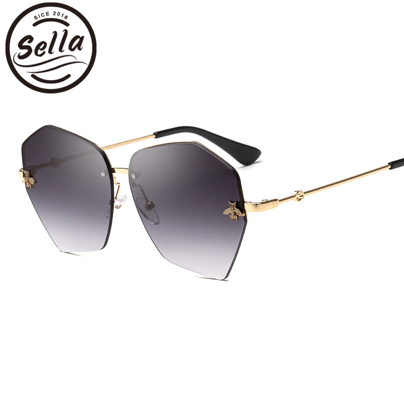 Sella New Fashion Women Rimless Irregular Sunglasses Brand Designer Bees Decoration Gradient/ Mirror Lens Sun Glasses Eyewear