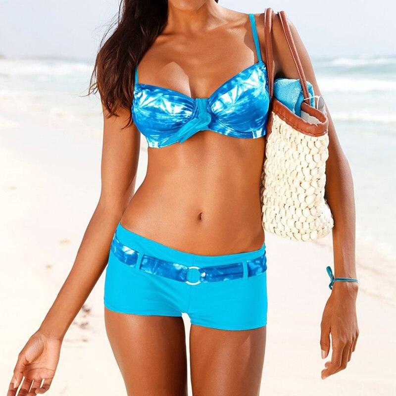 Blue Pants Style Bikini Female Swimsuit Push Up Women Sexy