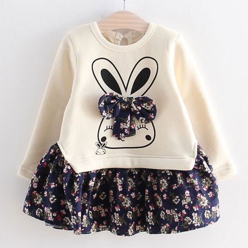 Hot Sale Girls Long Sleeve Dress Cute Rabbit and Flowers Printed 2018 Winter Autumn Baby Girl Dresses Princess Vestidos YY2234 1