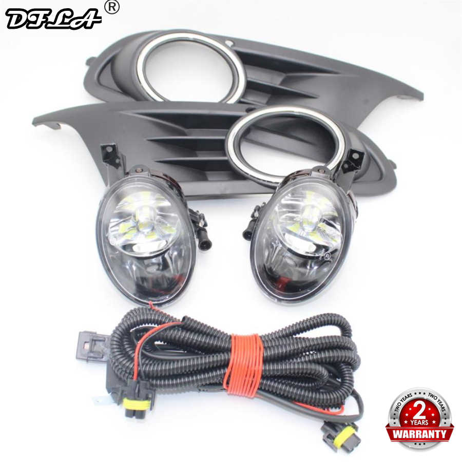 LED Mobil Kabut Lampu untuk VW Golf 6 MK6 2009 2010 2011 2012 2013 Depan Lampu Kabut LED Lampu Kabut + Cover + Harness Assembly