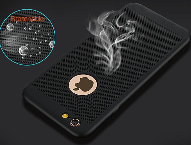 imágenes para 10 unids Nueva Disipación de Calor Caja Del Teléfono Para el iphone de Apple 6 6 s 7 7 más Caso Scrub Textura Dura de la PC Para el iphone 7 Caja Del Teléfono cubre