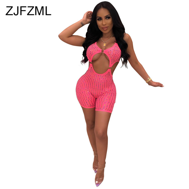 Sparkly Rhinestone Sexy Party Playsuit Women Spaghetti Strap Backless Skinny Jumpsuit Summer Sleeveless Hollow Out Short Romper