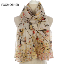 FOXMOTHER New Fashion Women Winter Grey Sky Blue Bird On Tree Branches Long Scarf Ladies