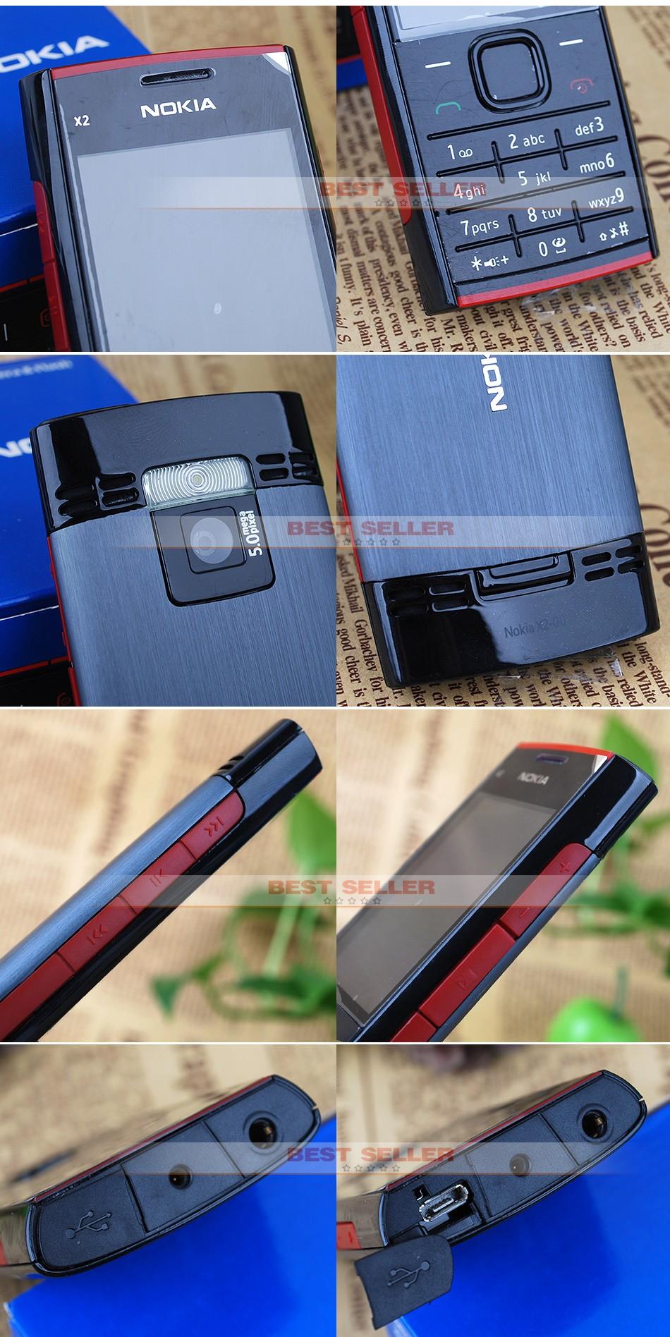 Refurbished phone Nokia X2-00 Bluetooth FM JAVA 5MP Cell Phones Free Shipping black 6