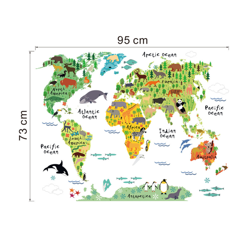 colorful animal world map wall stickers living room home decorations pvc decal mural art 037 diy office kids room wall art in wall stickers from home