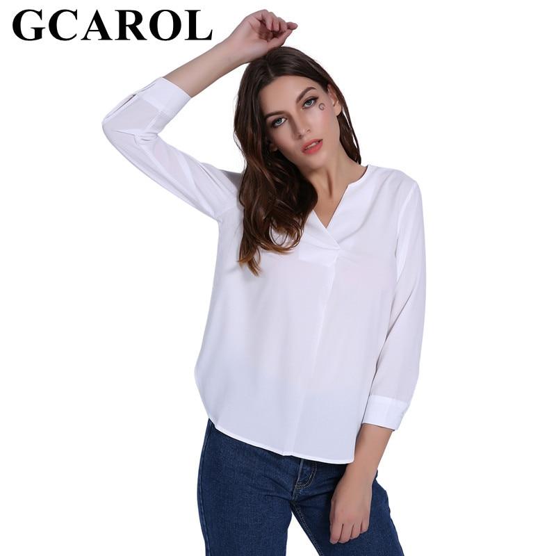 GCAROL 2019 New Arrivals Women V-Neck Chiffon Shirt OL Office White Blouse Elegant Neat Tops High Street Basic Tops For 4 Season