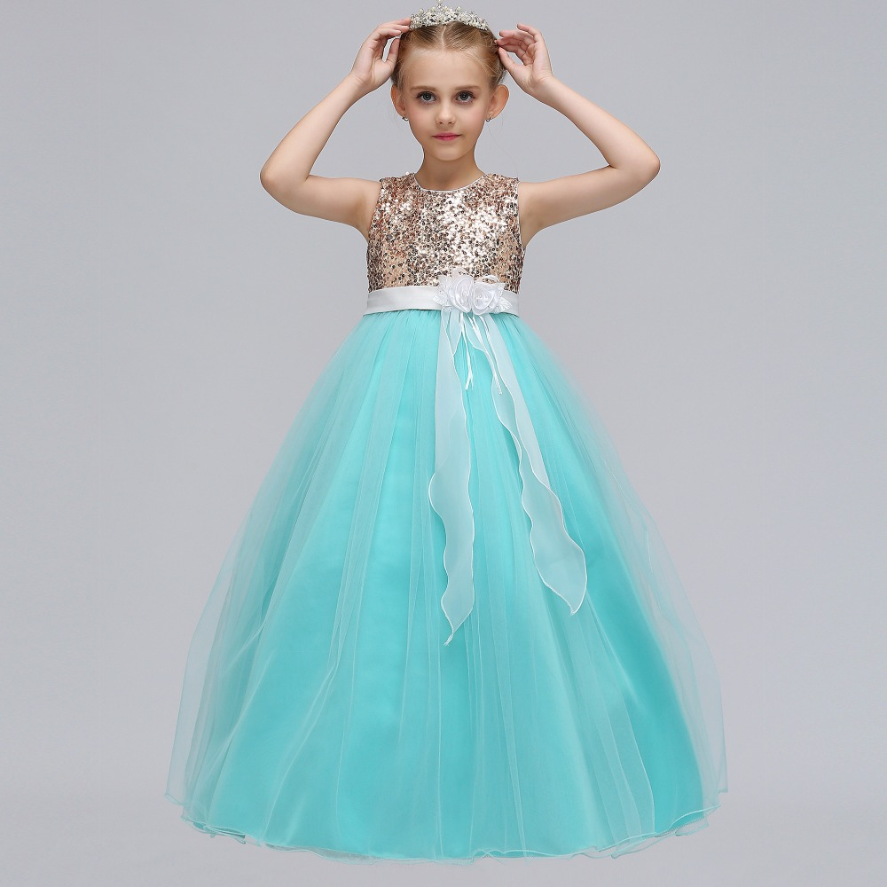 Classic A Line Sleeveless Sequins Flower Girls Dresses For Weddings ...