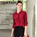 Women Silk Blouse 100% REAL SILK chiffon Solid Fashion long sleeve blouse shirt Blusas femininas 2017 Spring Gray Wine