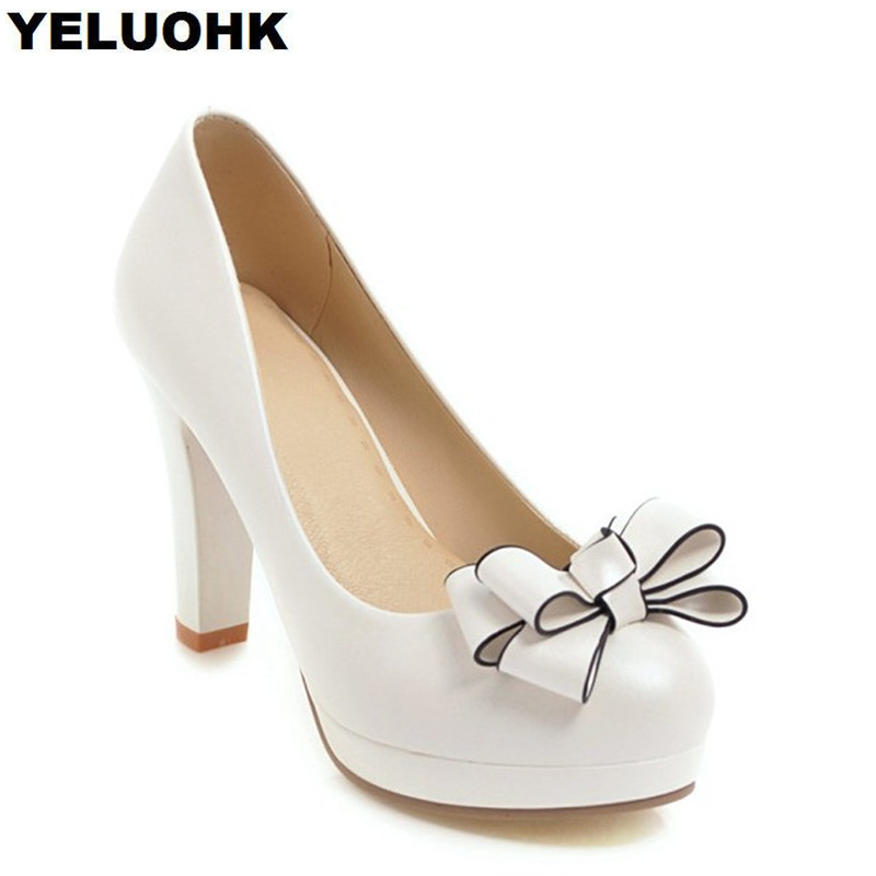 Big Size Butterfly Knot Wedding Shoes For Women Sexy High