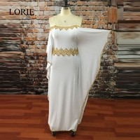 모로코 두바이 이브닝 드레스 2017 Abendkleider 보트 넥 골드 크리스탈 페르시 흰색 긴 댄스 파티 드레스 인어 파티 드레