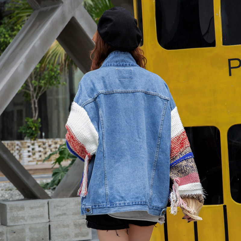 Jacket Tricoter Jacket Denim Manteau Dark Outwear Harajuku Qoerlin D'hiver Bf Blue light breasted Femelle Femmes Veste Automne Gland Single Patchwork Jeans À wXz1z5x