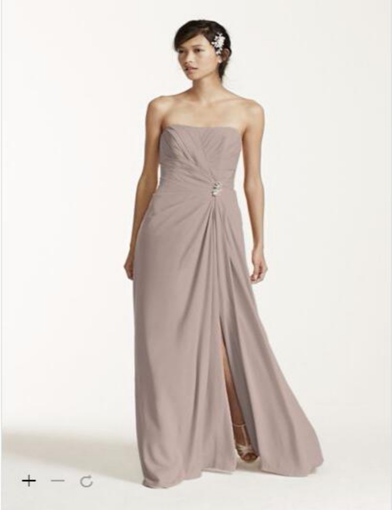 Compare prices on brooch for bridesmaid dress online shoppingbuy 2016 side split bridesmaid dresses long strapless crepe dress with brooch and side pleating decoration f15532 ombrellifo Image collections